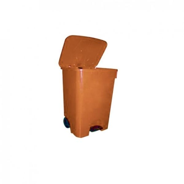 Мусорный бак пластиковый с крышкой с педалью с колесами TELKAR 85л.