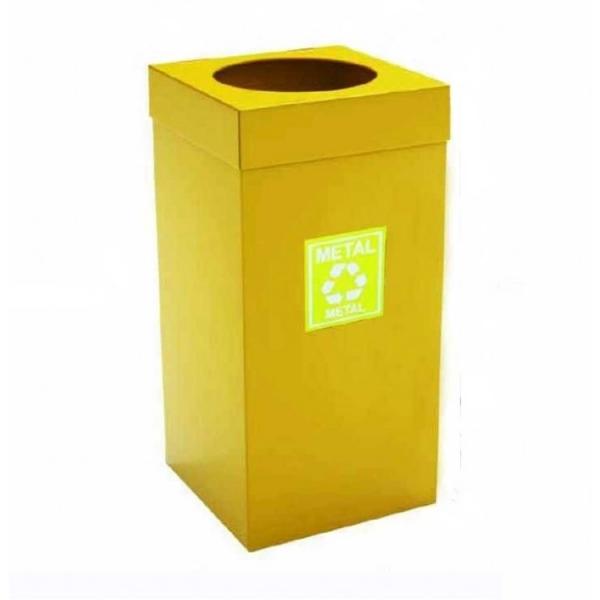 Урна для сортировки мусора из нержавеющей стали, желтая порошковая окраска 54 л. 1867 ARI METAL