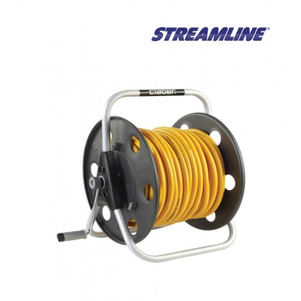 Катушка для шланга металлическая, шланг ECOLINE 8мм STREAMLINE HRM150-6-AS
