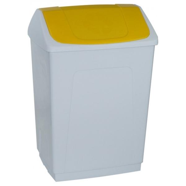 Ведро пластиковое белое с плавающей желтой крышкой 242633 DENOX 55л.