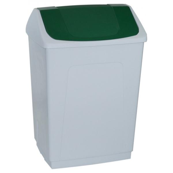 Ведро пластиковое белое с плавающей зеленой крышкой 242664 DENOX 55л.