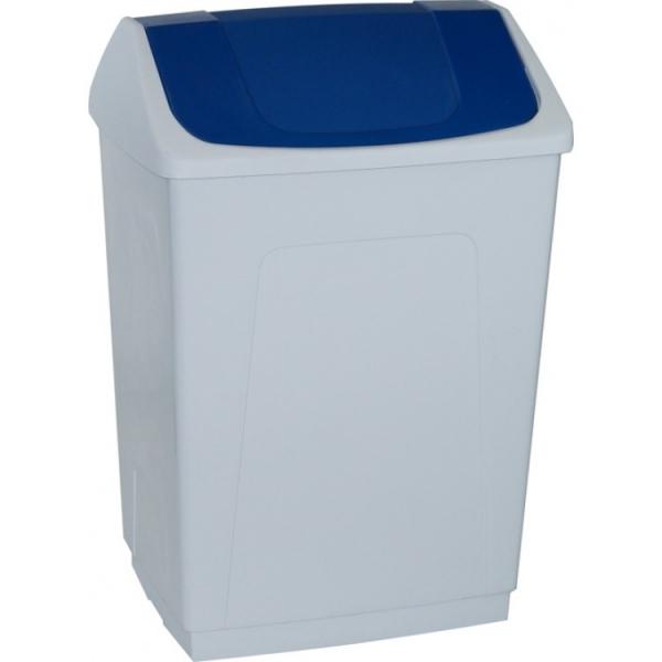 Ведро пластиковое белое с плавающей синей крышкой 242657 DENOX 55л.