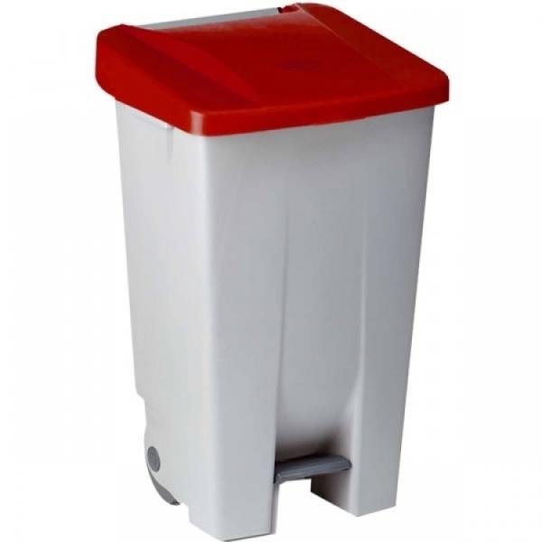 Контейнер пластиковый серый с ручками с красной крышкой с педалью на колесах 234195 DENOX 80л.