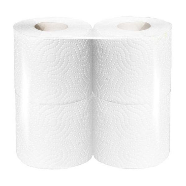 Туалетная бумага  2 слоя, белая целлюлоза, 4шт.