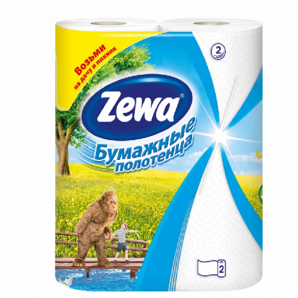 "Полотенца бумажные ""ZEWA"", 2 рулона, 2 слоя"