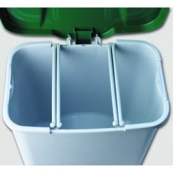 Контейнер с крышкой с педалью с внутренним разделением на 1, 2 или 3 мусорных отсеков 24160 DENOX 50л.