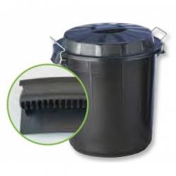Бак пластиковый черный с ручками с крышкой с зажимом 132507 DENOX 50л.