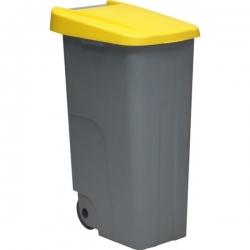 Контейнер для мусора основа серая с ручкой на колесах с желтой крышкой 234416 DENOX 85л.