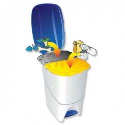 Мусорный бак для раздельного сбора отходов 2 секции с педалью и крышкой 241766 DENOX 25л.