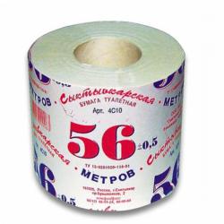 """Туалетная бумага """"56 метров"""", 1 слой, на втулке"""